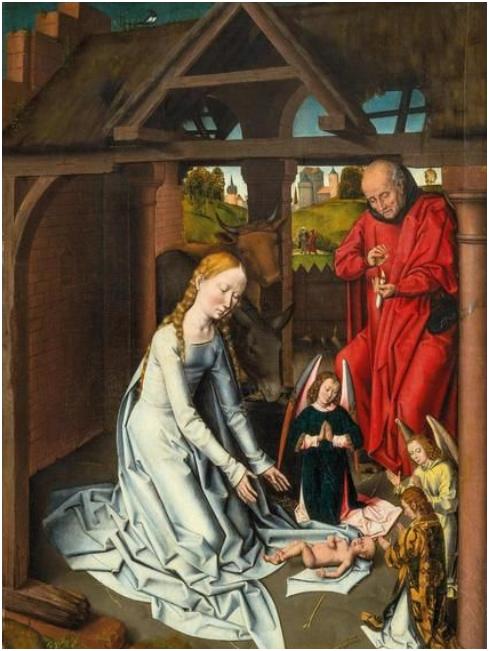 Atelier de HANS MEMLING (1435-1494) La Naissance du Christ