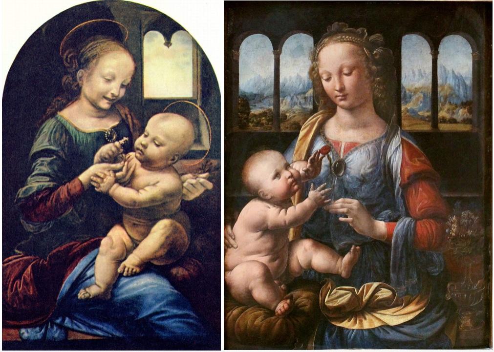 Links: Madonna mit der Blume (Madonna Benois), Öl/Lwd., um 1475-80, Sankt Petersburg, Eremitage Rechts: Madonna mit der Nelke, um 1473-78, München, Alte Pinakothek