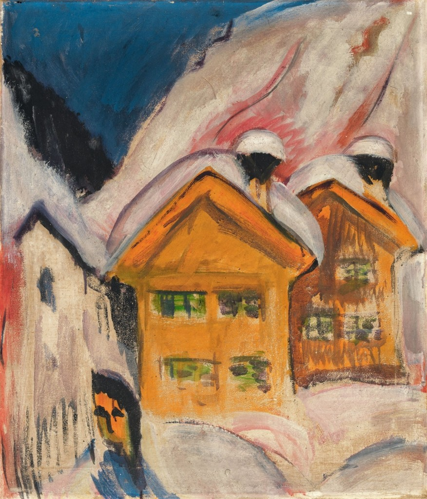 ERNST LUDWIG KIRCHNER (Aschaffenburg 1880 - 1938 Frauenkirch bei Davos) - Häuser im Schnee, Öl/Lwd., 70,5 x 60,3 cm, 1917 Schätzpreis: 500.000-600.000 EUR