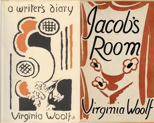 Två av Virginia Woolfs bokomslag formgivna av Vanessa Bell.