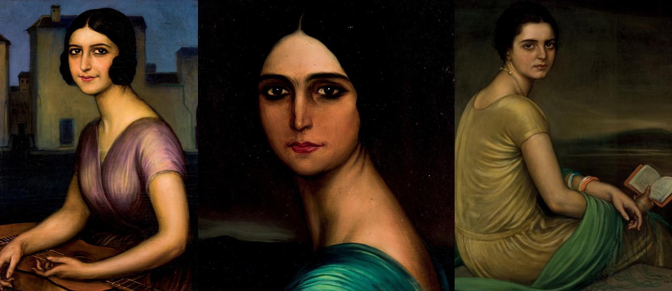 À gauche: Julio Romero de Torres, Señorita Berot, vendu le 23/3/17 Au centre: Julio Romero de Torres, Mujer morena, vendu le 26/1/17 pour 25 000 € À droite: Julio Romero de Torres, Retrato Srta de Alfonso, vendu le 22/9/16 pour 150 000 €