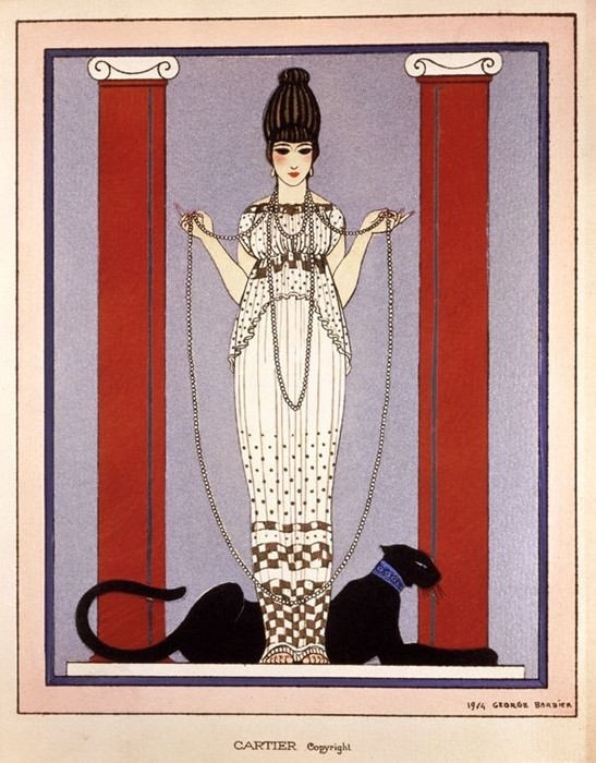 An illustration by Barbier used by Cartier in 1914 for an exhibition card and later for advertising, this was the first time that Cartier used the iconic panther motif in their brand. Image via http://www.anothermag.com/fashion-beauty/3985/the-enduring-appeal-of-the-cartier-panther