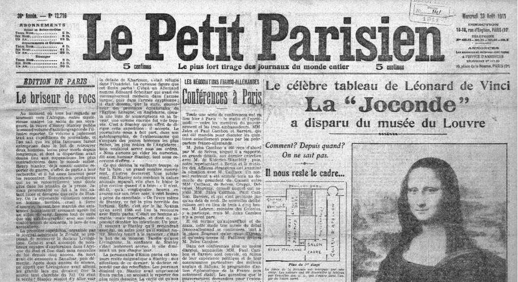 Le Petit Parisien annonce le vol de la Joconde, 23 août 1911 Image via lesyeuxdargus.wordpress.com