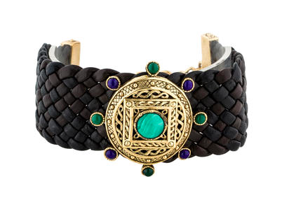 Black woven Christian Dior leather choker featuring gold-tone center with malachite accents and gold-tone hook closure.