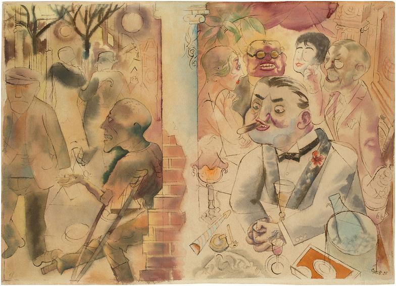 """GEORGE GROSZ (1893 - Berlin - 1959) - """"Drinnen und Draußen"""", vattenfärg, penna och indiskt bläck på vävt papper, 47,6 x 66,1 cm. Namngiven, signerad och daterad, 1925. Utropspris: 1,8 - 2,8 miljoner kronor."""