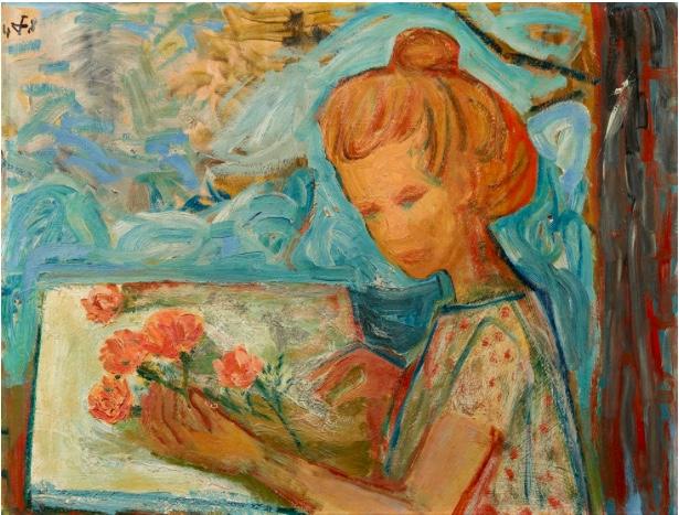 OTTO DIX (1891 Untermhaus bei Gera - 1969 Singen/Hohentwiel) - Blondes Mädchen mit losen Blumen (am Tisch sitzend), Öl/HF, signiert und datiert, 1948