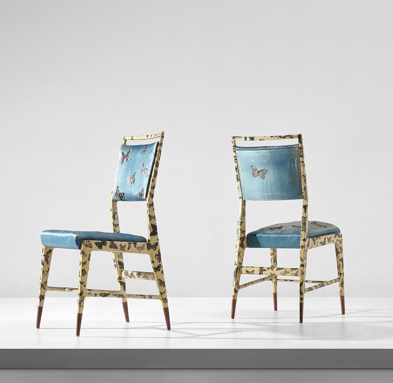 Gio Ponti und Piero Fornasetti, Paar Stühle, ca. 1951 | Foto: Cambi e Phillips