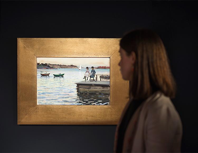 """På Bukowskis håller man tummarna för att Zorns fantastiska akvarell, """"Kapprodd"""", från Dalarö ska klubbas för mångmiljonbelopp"""