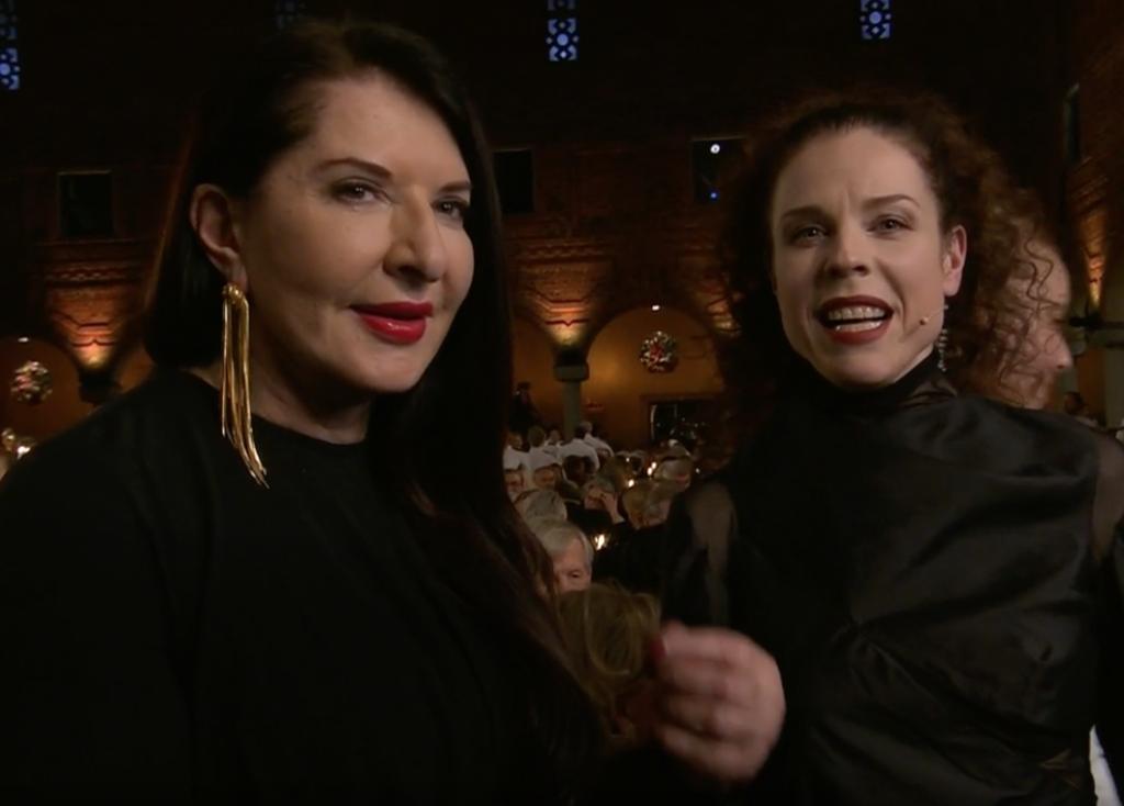 Marina Abramović intervistata da Jessika Gedlin durante la Nobel Week.