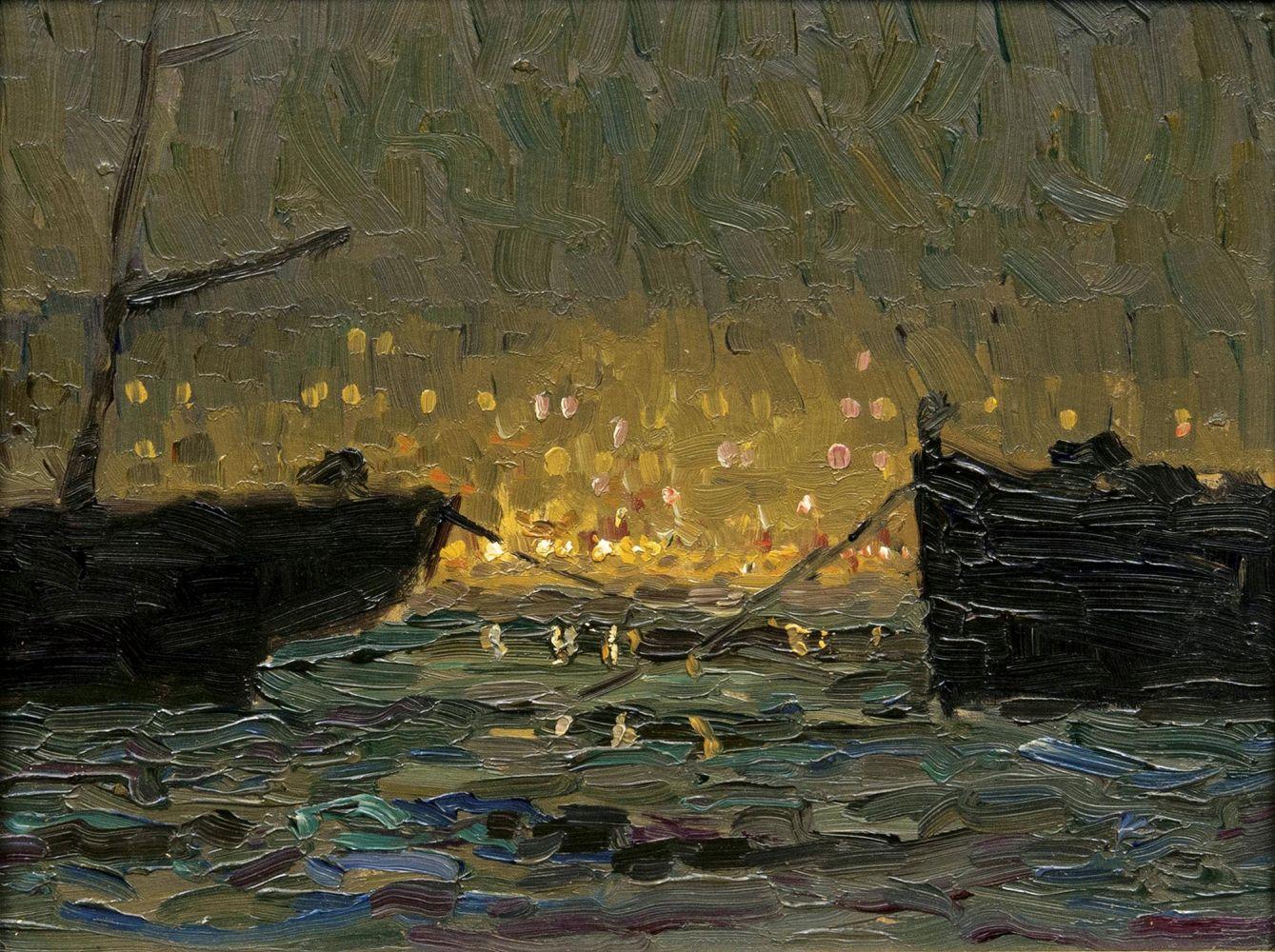 Ernst Eitner (1867 Hamburg 1955), Lichtstimmung im Hamburger Hafen, Öl/Karton, signiert
