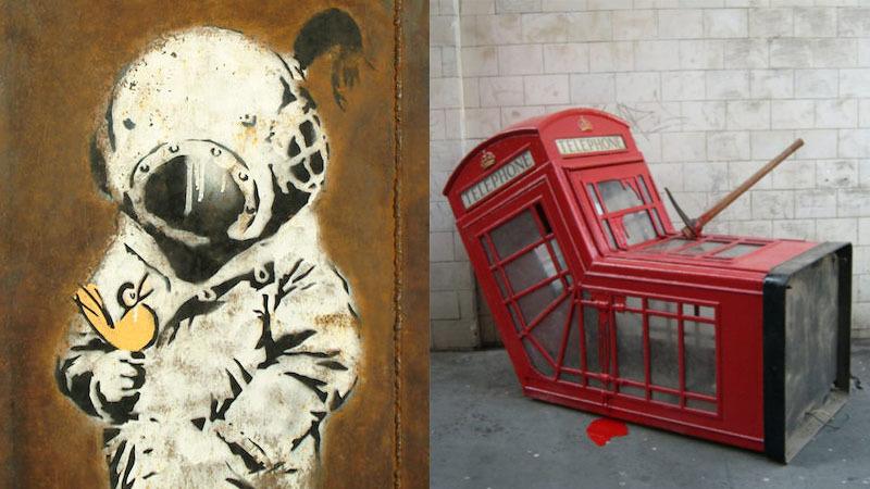 "Links: ""Space Girl and Bird"", Foto: Bonhams | Rechts: ""Vandalized Phone Box"", Foto: Toronto Star"