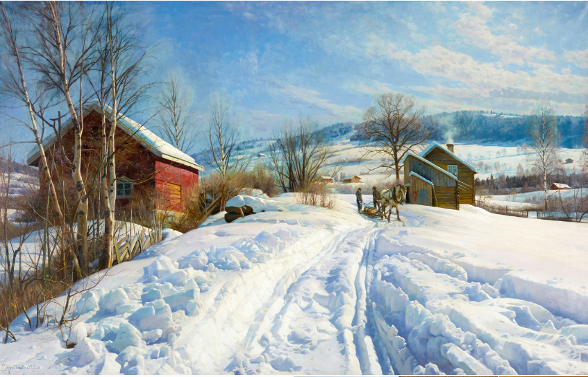 Peder Mönsted, 'Mountain scenery on a Sunny Winter Day', 1923, oil on canvas. Photo: Stockholm Auktionsverk