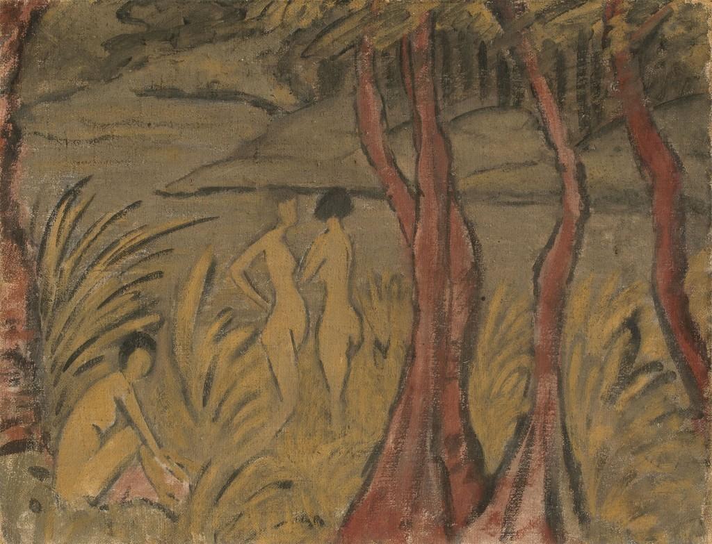 Drei Badende und rotbraune Bäume, Otto Mueller. Foto: Grisebach.