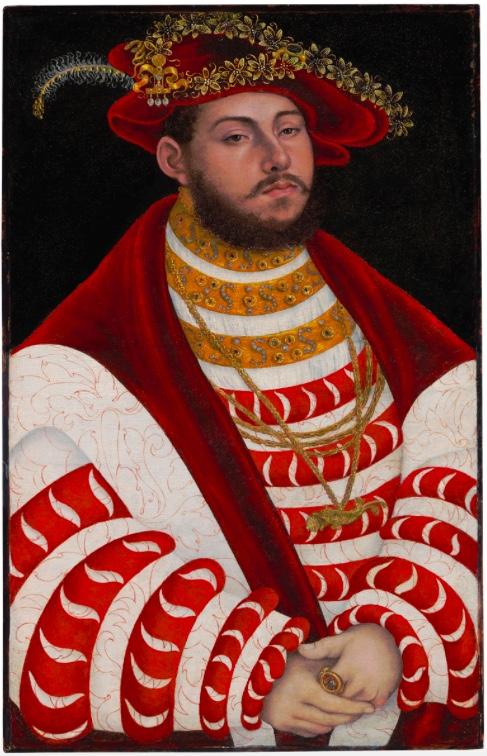 LUCAS CRANACH DER ÄLTERE (1472 Kronach - 1553 Weimar) - Portrait des Kurfürsten Johann Friedrich I. von Sachsen, Öl/Holz, 1530er Jahre