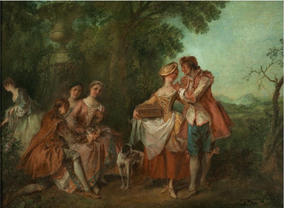NICOLAS LANCRET (1690 Paris 1743) - Fête champêtre, Öl/Lwd.