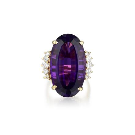 14K Gold Amethyst and Diamond Ring. Photo: Fortuna