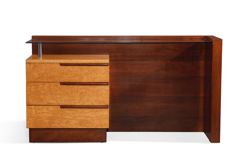 Art Deco Gilbert Rohde for Herman Miller bird's eye maple and walnut vanity, #3626, designed 1936 (est. $1,000-1,500).