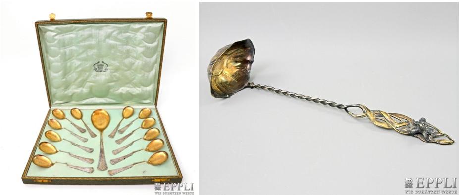 Links: BRUCKMANN & SÖHNE - 12 Nachtischlöffel & 1 großer Löffel, teilvergoldetes Silber, Anfang 20. Jh. | Rechts: Suppenkelle mit Jugendstil-Dekor, versilbert, wohl um 1920