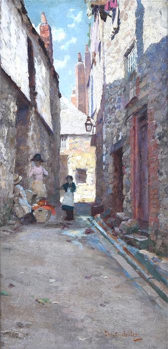 Martin Gwilt Jolley (1859-1916) British Children in a Saint Ives Stree