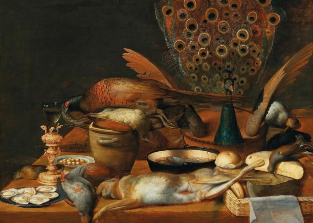 Deutsche Schule - Stillleben mit einem Römer, erlegtem Federwild und einem Hasen, Öl/Holz, um 1620