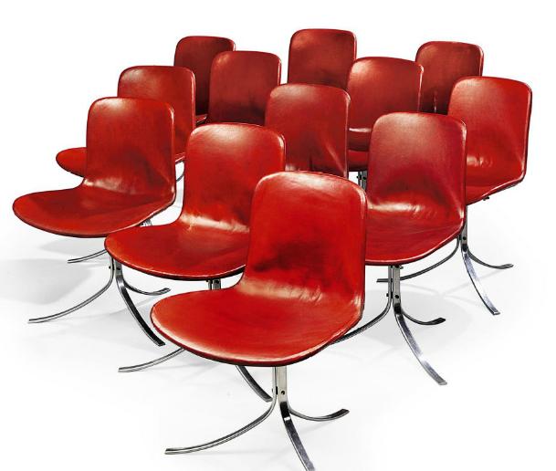 POUL KJAERHOLM (1929-1980) SET OF TWELVE PK-9 DINING CHAIRS, DESIGNED 1961. Såldes 2010 för 676 000 SEK på Christie's.
