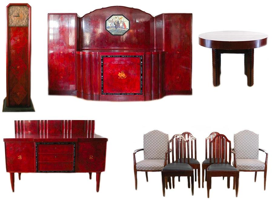 Mahagonifarbenes Jugendstil-Zimmer mit Buffet, Anrichte, Tisch, Standuhr und 6 Stühlen
