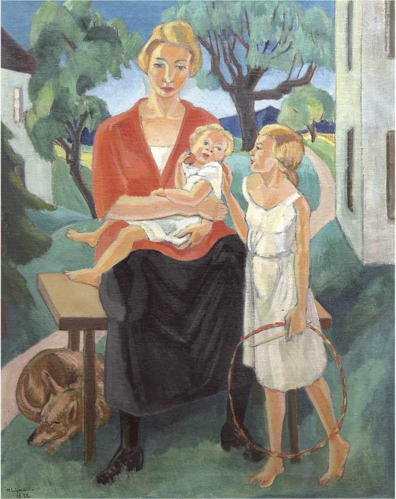 Hermann Lismann (1878 München-1943 KZ Majdanek), Die Familie des Künstlers, Öl/Lwd., signiert und datiert, 1922