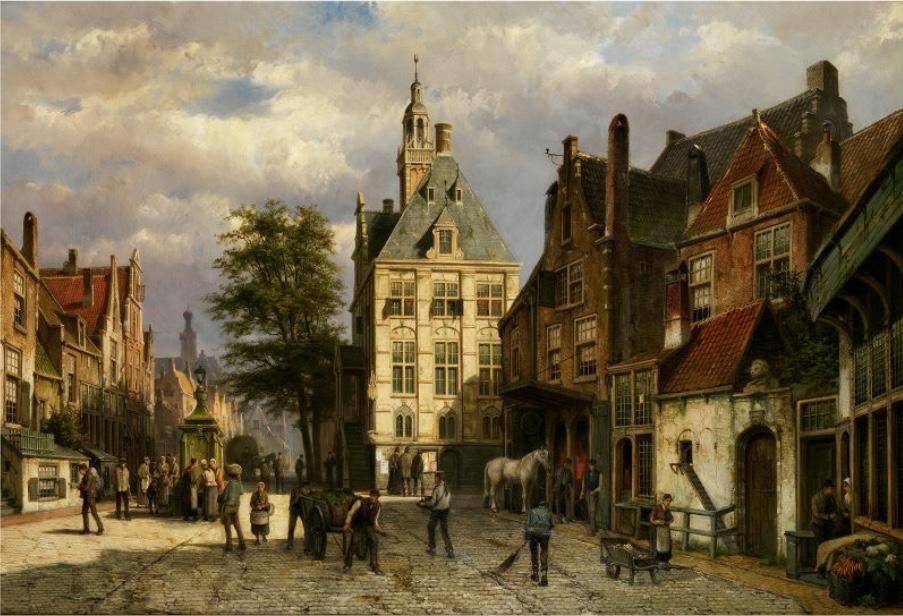 WILLEM KOEKKOEK (1839 Amsterdam 1895) - Stadtansicht, Öl/Lwd., signiert