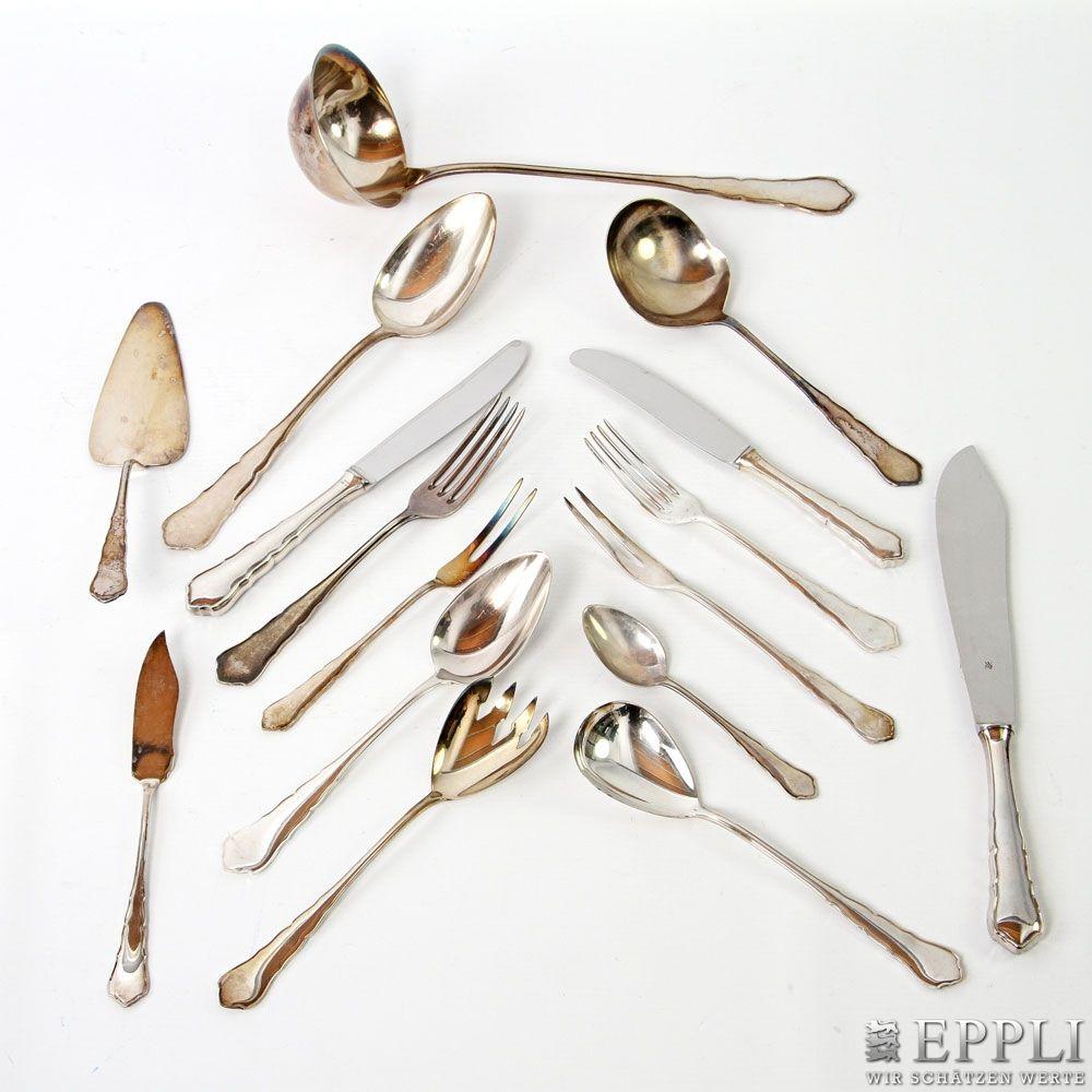 WMF umfangreiches Speisebesteck für mind. 6 Personen, Silber, 20. Jh. Aufrufpreis: 2 100 EUR. bei Eppli