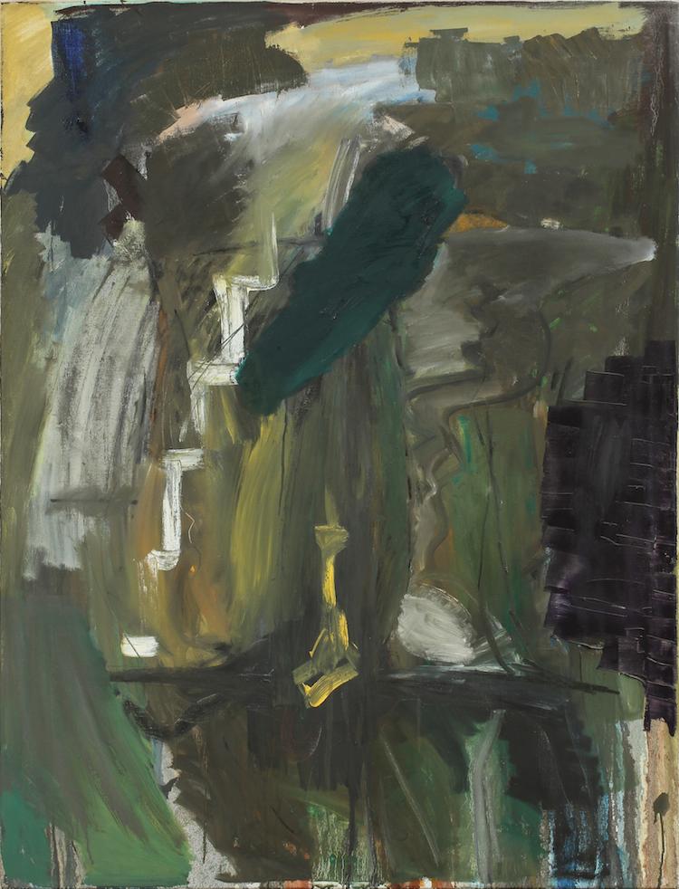 """Per Kirkeby, """"Shadow and ornament II"""". Olja på duk. Utförd i Berlin 1982. Utropspris 300 000 SEK. Göteborgs Auktionsverk"""