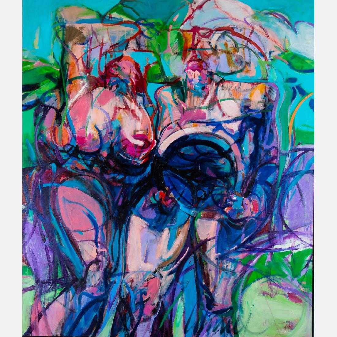 Two large paintings by Thompson Lehnert (American, b. 1931), will include this one titled Freedom, signed lower right and measuring 52 ¼ inches by 45 inches (est. $2,000-$3,000).