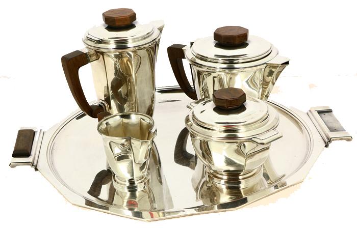 Boulenger, Service thé café Art Déco en métal argenté et palissandre Quimper Enchères