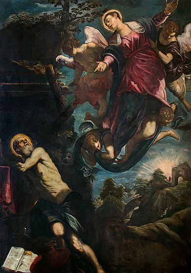 Jacopo Tintoretto, The Apparition of the Virgin to Saint Jerome, c. 1580, oil on canvas, Sala di Lettura, Ateneo Veneto, Venice