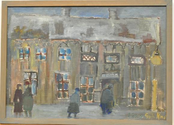 Gusty Olson 1912-1979 Gule Knut Jönköping, oljemålning duk, signerad, daterad på baksidan 1963, 60x44. Utrop: 500 SEK. Västra Auktionsverket