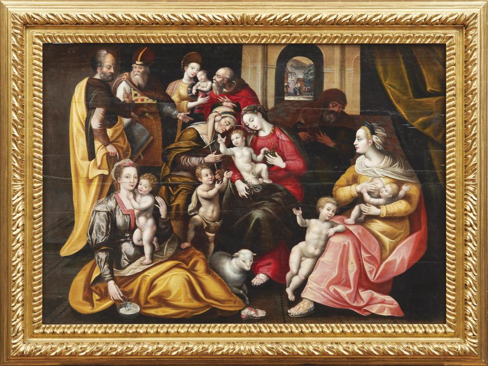 MARTEN DE VOS (1532 Antwerpen 1603) Nachfolger - Die Heilige Sippe, Öl/Holz, um 1585-90