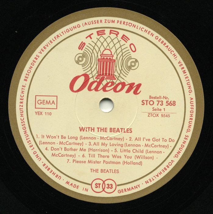"""The Beatles - """"With The Beatles """" - Rare German ODEON gold rim label"""