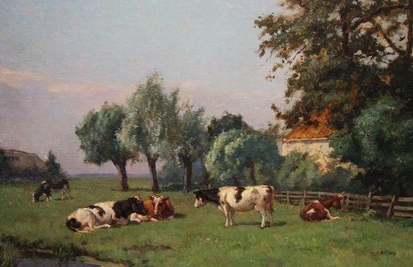 Louis Soonius (1883-1956) - Bondgård med kor, olja på duk, signerad. Utropspris: 28 500 - 37 000 kronor.