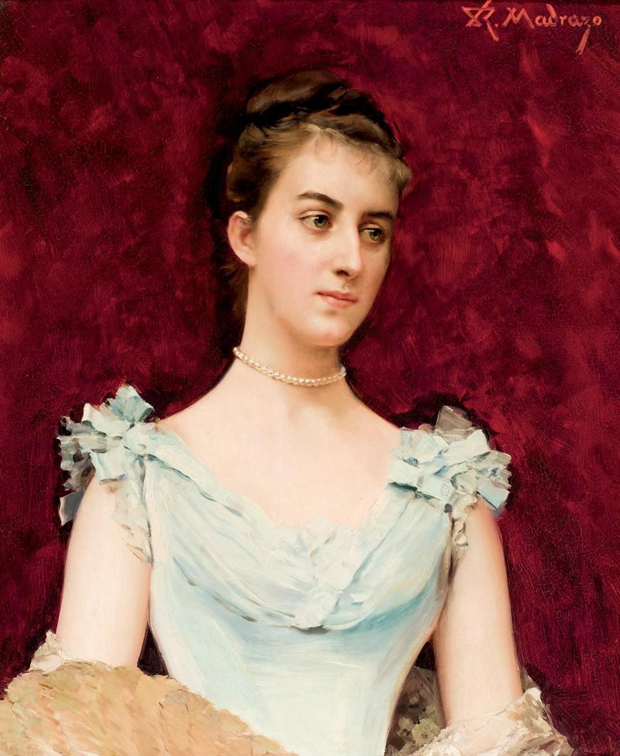 RAIMUNDO DE MADRAZO (1840-1920) - Portrait einer Dame, Öl/Lwd., signiert