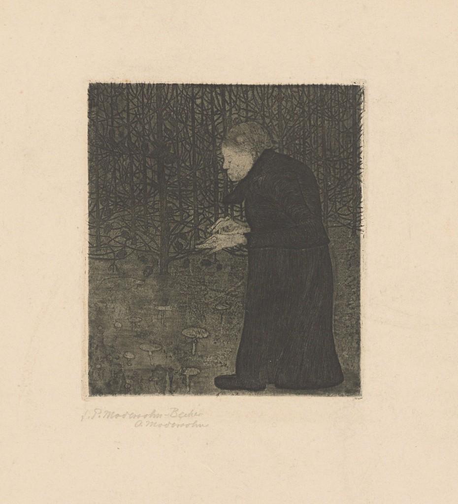 Paula Modersohn-Becker (Dresde 1876-1907 Worpswede) - Une femme aveugle dans la forêt, gravure / Vélin, en 1900