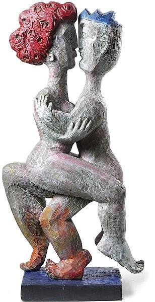CHRISTIAN PESCHKE (*1946 Säckingen) - Liebespaar, Holz, H: 60 cm, bezeichnet und signiert Schätzpreis: 8.500 EUR