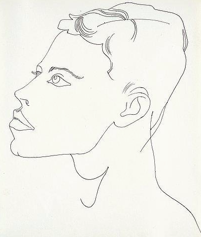 """Andy Warhol """"Unidentified Male"""" circa 1956. Black ballpoint pen on Manila paper Provenance: The Estate of Andy Warhol, New York. The Andy Warhol Foundation for the Visual Arts, New York.Sold at Bukowskis in 2015 for $22 600"""