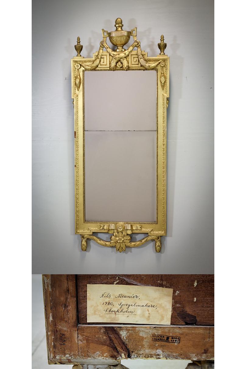 Spegel, av Niclas Meunier (1730-1797), gustaviansk, Stockholm 1780. Utrop: 30.000 Sek. Auktionsbyrån Effekta
