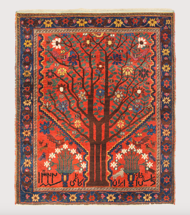 Neiriz 'Tree' Rug with Inscription, Fars Province, Southwest Persia, early 20th century. Sadegh Memarian, exhibiting at the HALI Fair at The Mall Galleries, 27-30 June 2019. Photo courtesy HALI