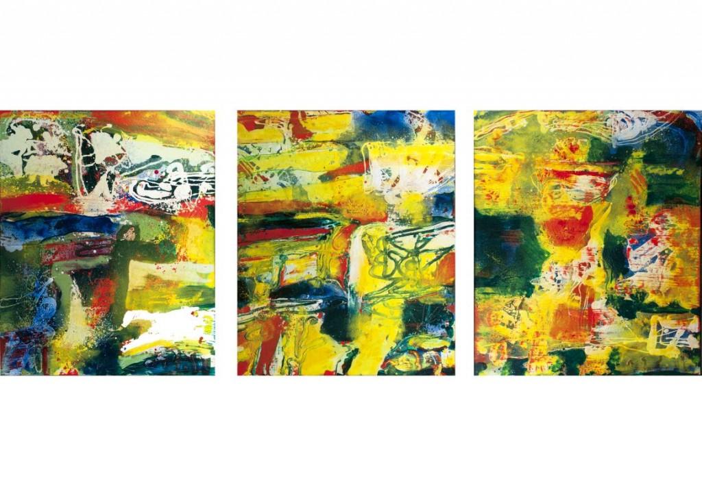 PETER NYBORG (*1937 Kopenhagen) - Triptychon: Drei Abstraktionen, Öl/Lwd., signiert und datiert, 2011
