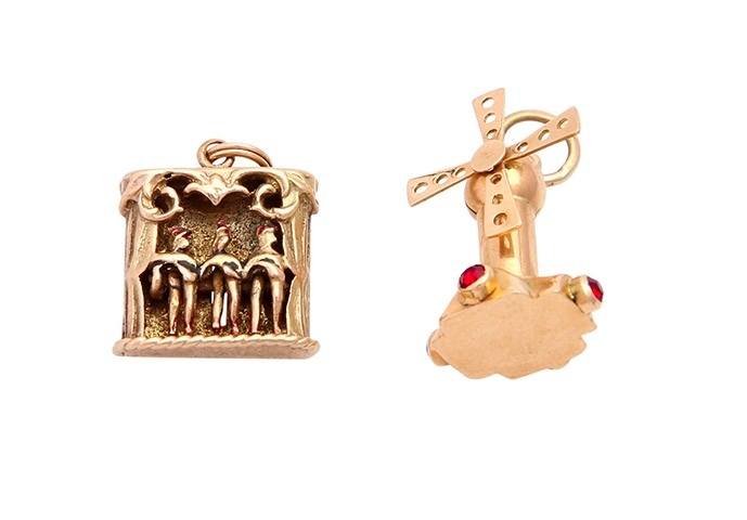 Two Pendants belonging to Miss Doris, a 'Moulin Rouge' pendant and Windmill. Photo: Eppli