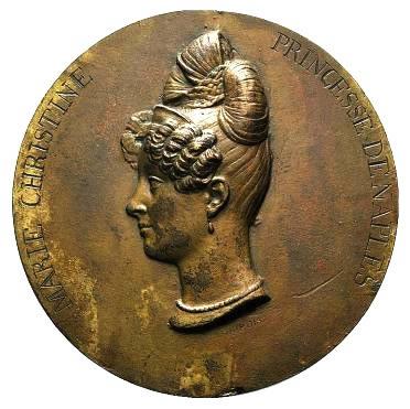 Ferdinanda Maria Cristina di Borbone (1806-1878), Medaille, Italien 19. Jh. Bertolami