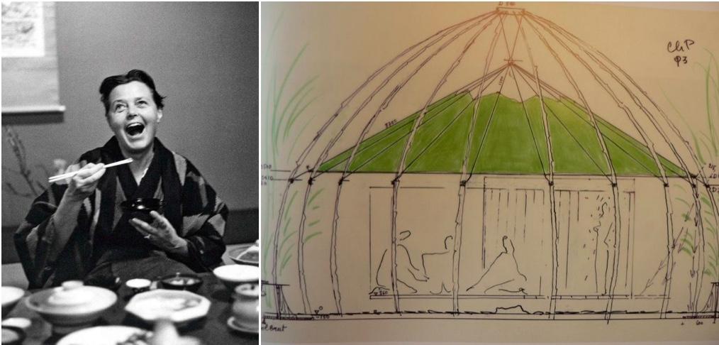 Links: Charlotte Perriand während eines Japan-Aufenthaltes in den 1950er Jahren, Foto via grazia.fr | Rechts: Charlotte Perriands Entwurfszeichnung des Teegartens für das UNESCO-Hauptquartier in Paris | Foto via Pinterest