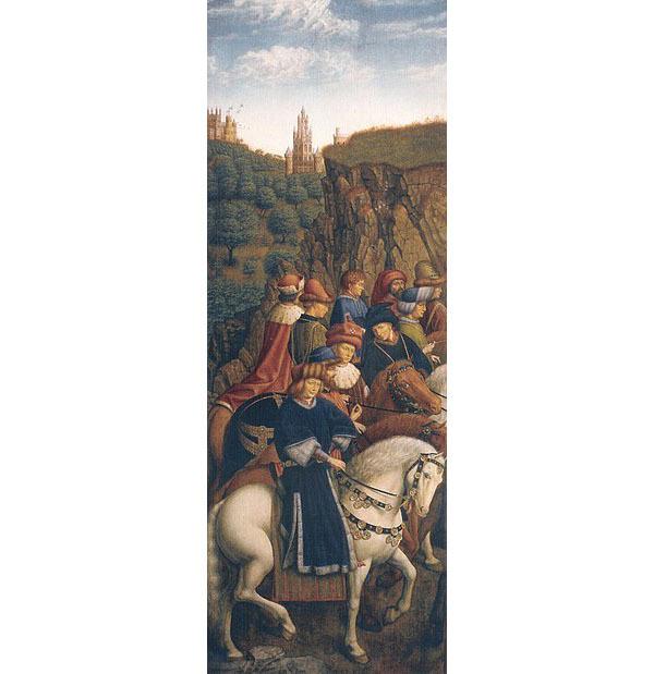 Jan et Hubert Van Eyck, Autel de Gand, Les juges justes, 1432, huile et tempera sur panneau de bois