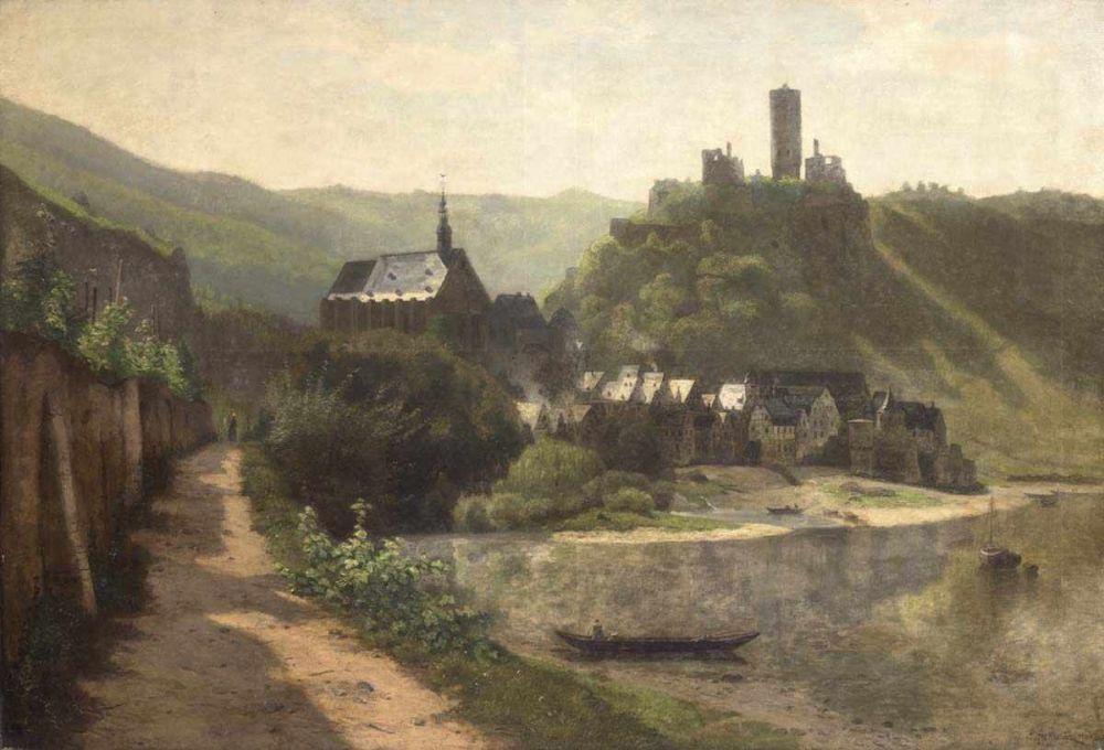CARL MALCHIN (1838 Kröpelin -1923 Schwerin-Ostorf) - Blick auf Beilstein und die Burgruine Metternich, Öl/Lwd., signiert und datiert 1905