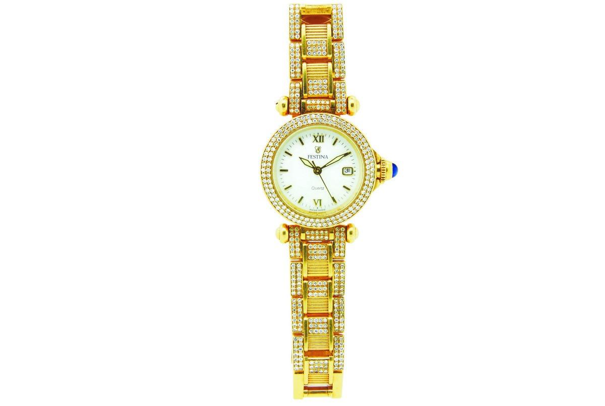 FESTINA. Reloj de pulsera para señora en oro y diamantes